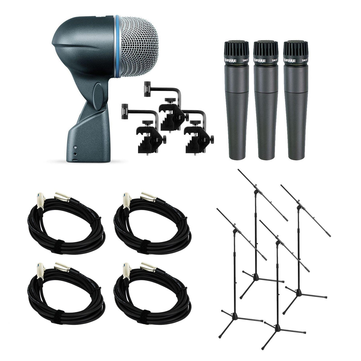 Shure DMK57-52 Drum Microphone Kit Bundle with 4 XLR Cables & 4 Mic Stands