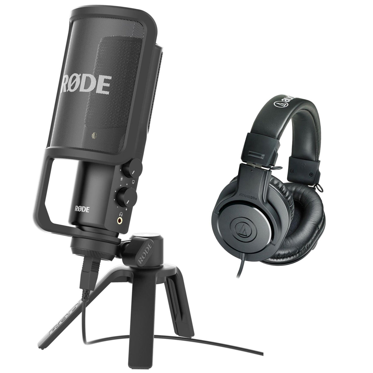 Rode NT-USB Microphone Bundle with Audio-Technica ATH-M20x Headphones