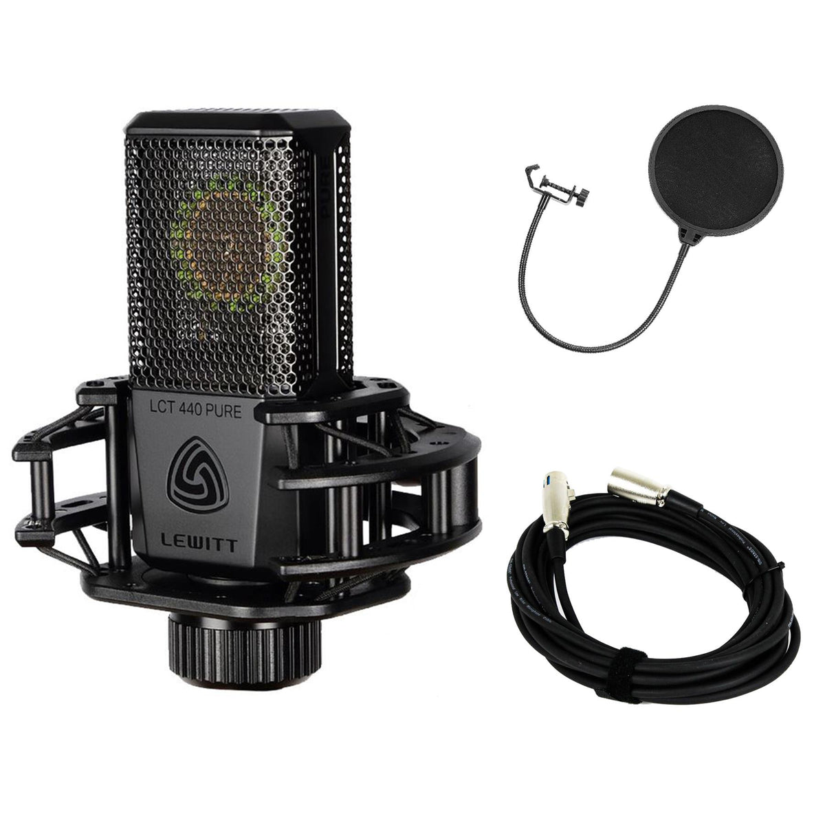 Lewitt LCT-440 Pure Microphone Bundle with 20-foot XLR Cable & Pop Filter