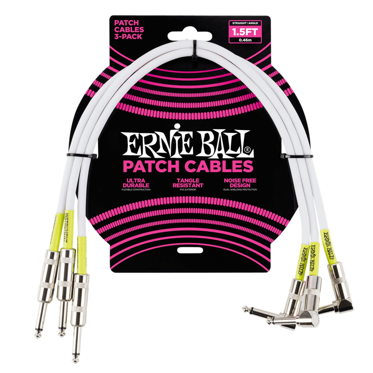 "Ernie Ball P06056 1.5-Foot White 1/4"" Straight/Angle Patch Cable - 3-Pack"