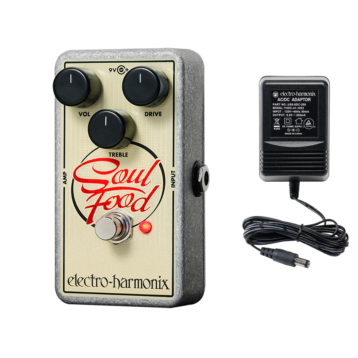 Electro-Harmonix Soul Food Transparent Overdrive Guitar Effects Pedal with 9.6V Power Supply