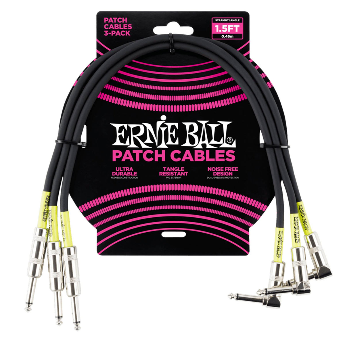 "Ernie Ball P06076 1.5-Foot Black 1/4"" Straight/Angle Patch Cable - 3-pack"