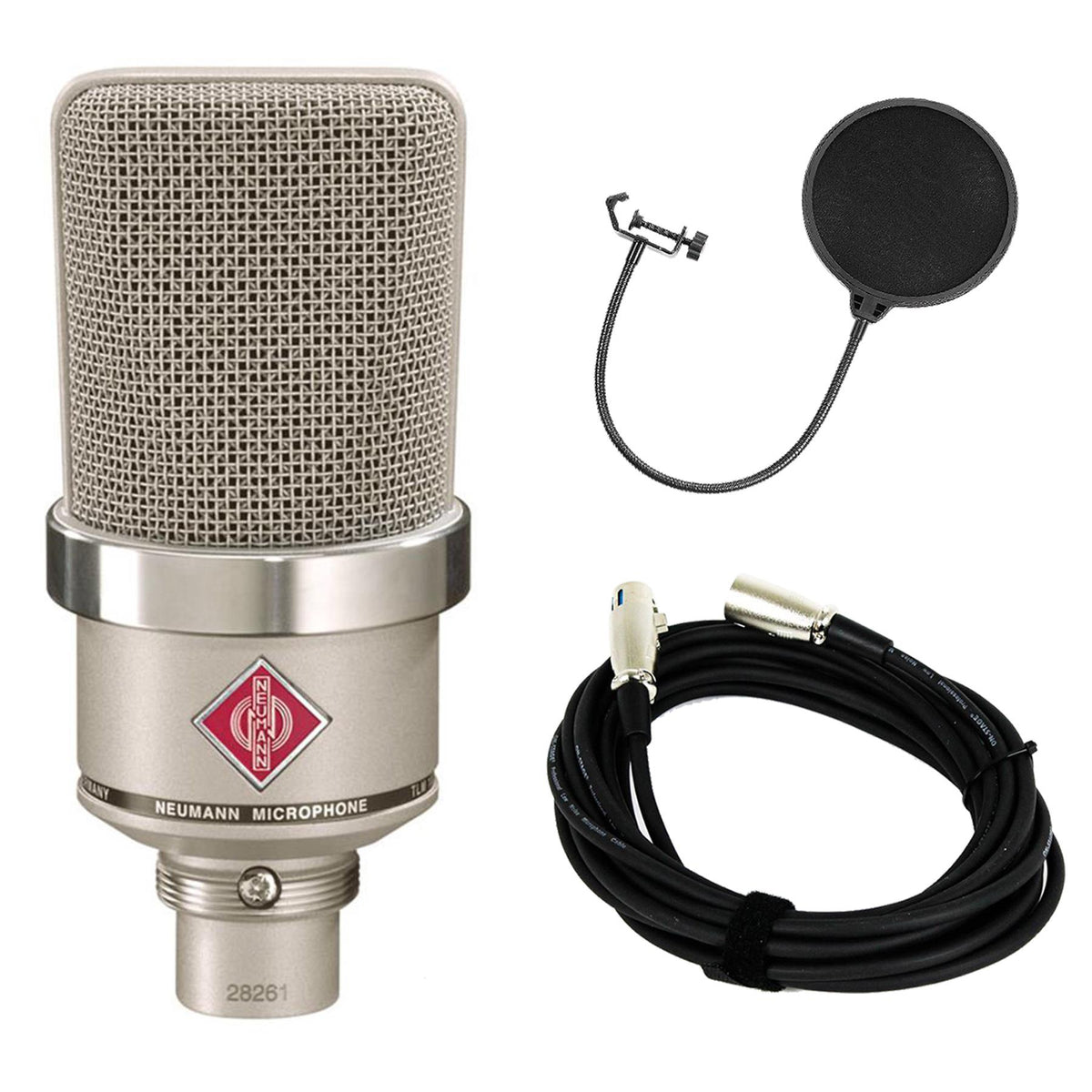 Neumann TLM 102 Nickel Microphone Bundle with 20-foot XLR Cable & Pop Filter