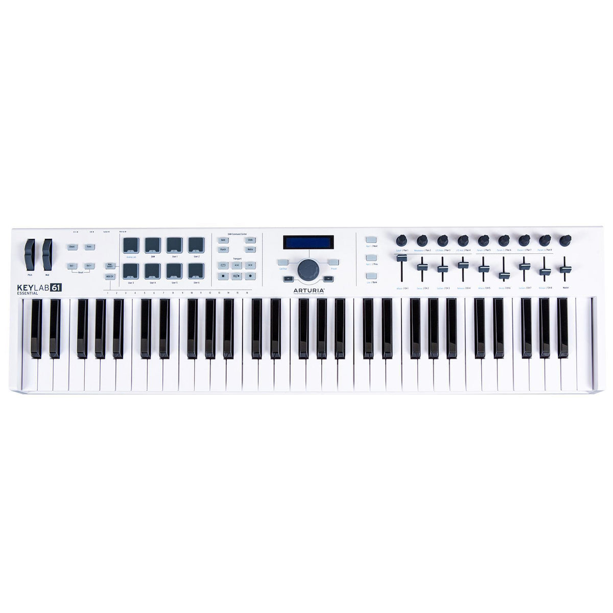 Arturia Keylab Essential 61 USB Keyboard Controller Bundle with Keyboard Stand, Stool, Sustain Pedal