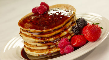 pancakes topped with date syrup