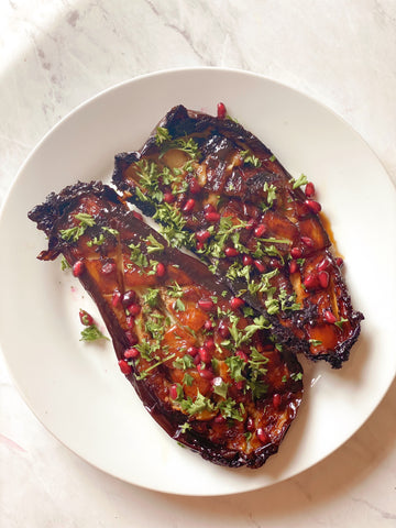 roasted eggplant with date syrup