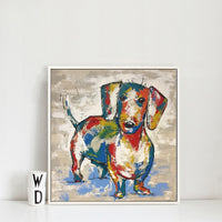 Dachshund Abstract Canvas Painting (No Frame)