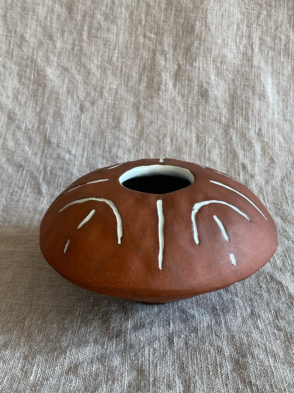 Decorative Flying Saucer Vase in Red Stoneware