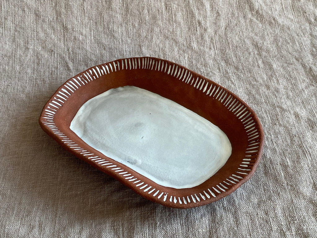 Small Serving Platter in Red Stoneware