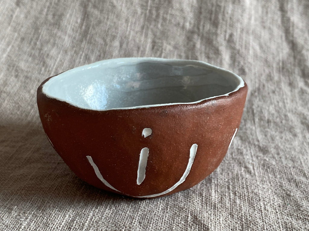 Handless Espresso Cup or Pinch Bowl in Red Stoneware