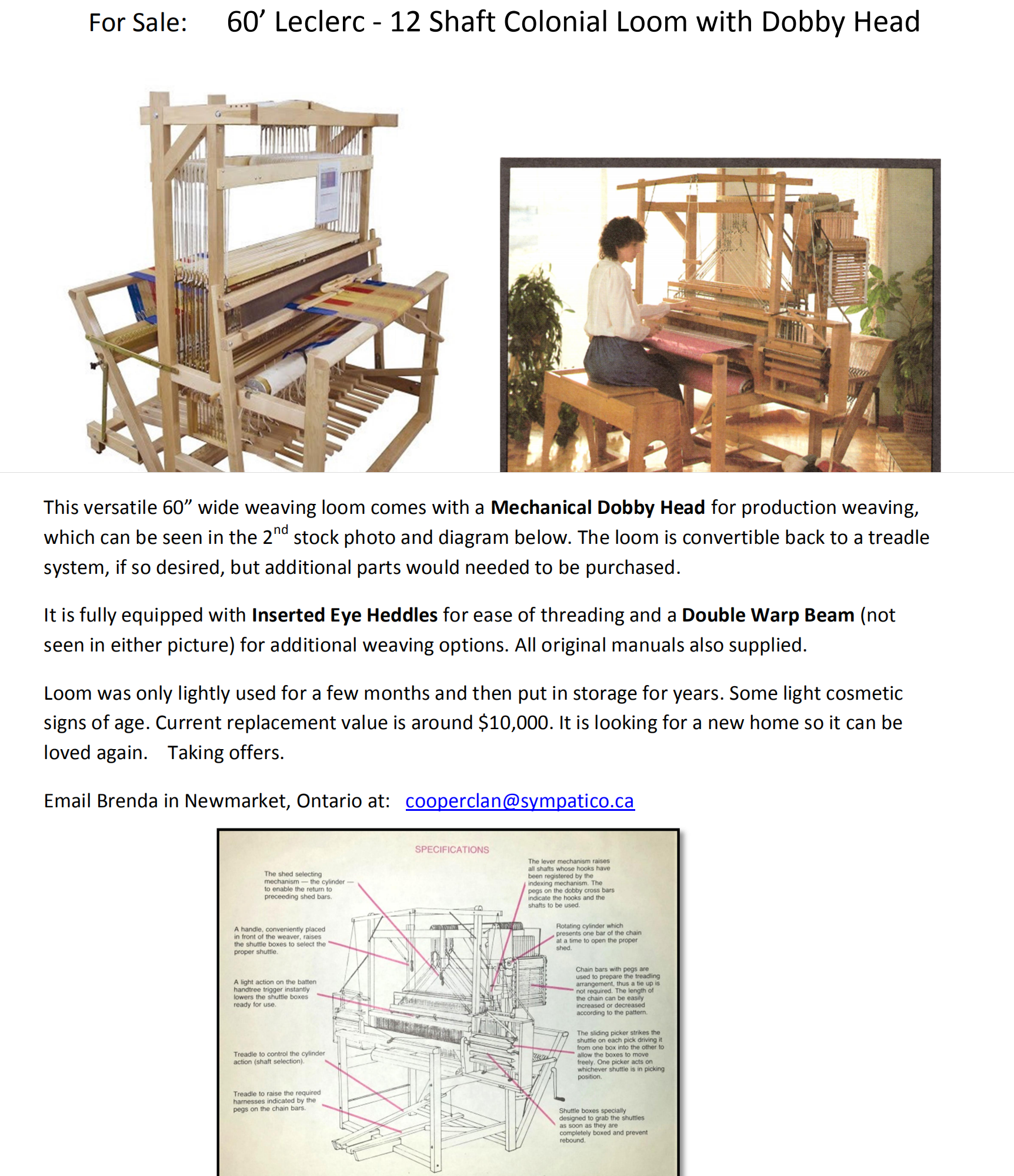 60 Inch Colonial Loom For Sale - Newmarket, ON