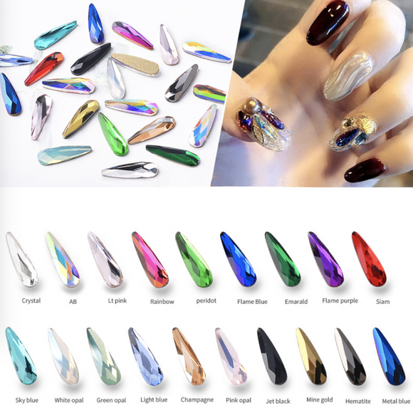 Waterdrop Diamonds Flat Bottom - 10pcs