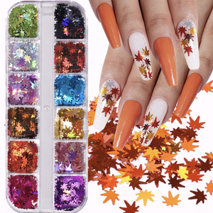 Solid Colour Marple Leaf Nail Décor