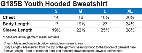 Youth Grey Hoodie Size Chart