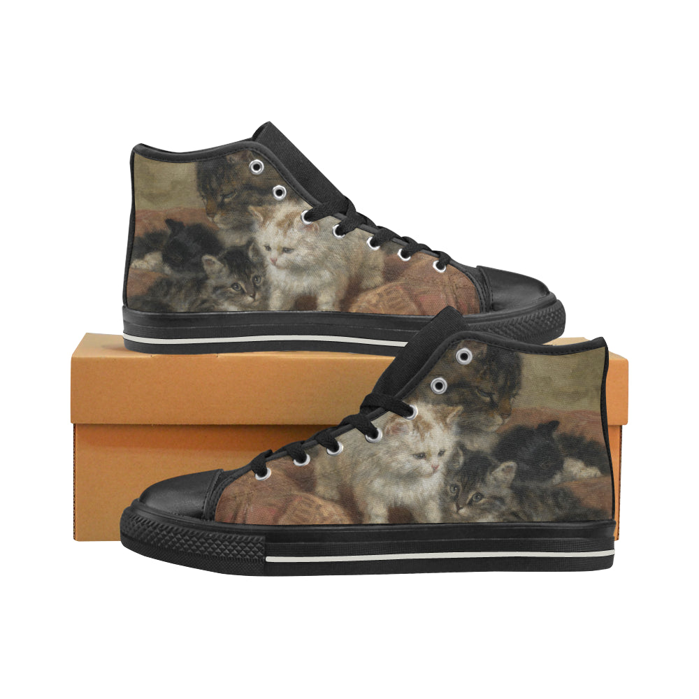 Mama Cat and Her Kittens Black or White High Top Canvas Woman's Shoes - Unique Cat Gifts