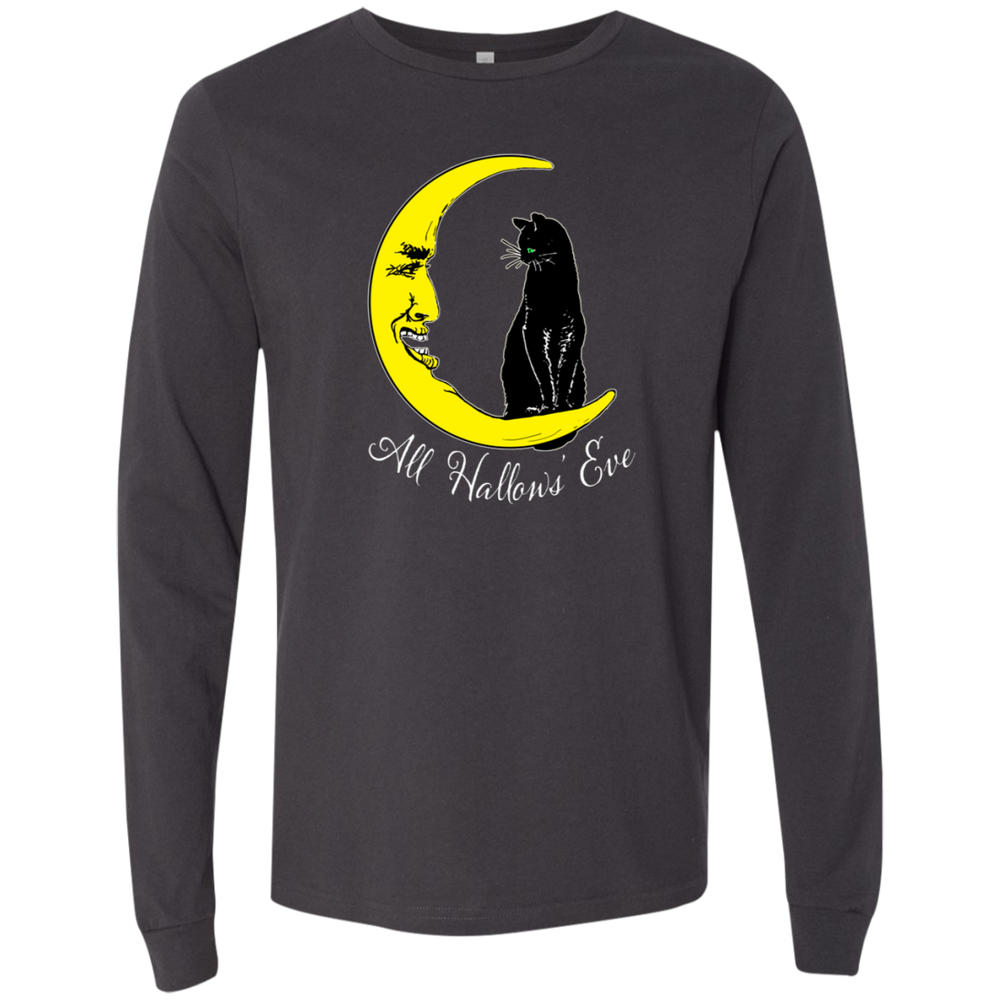Vintage All Hallow's Eve Black Cat Sitting on The Moon Long Sleeve Shirt - Unique Cat Gifts