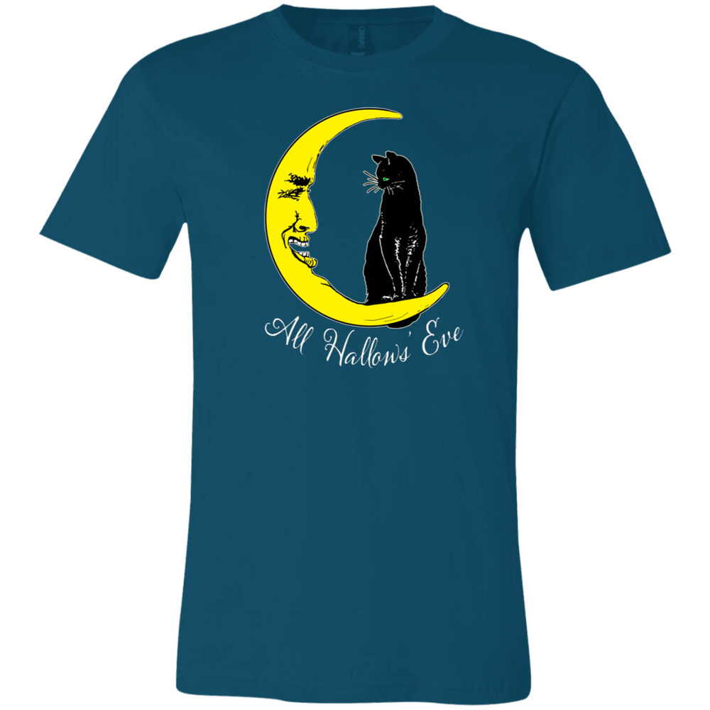 Vintage All Hallows' Eve Black Cat Sitting On The Moon Unisex Jersey T-Shirt - Unique Cat Gifts