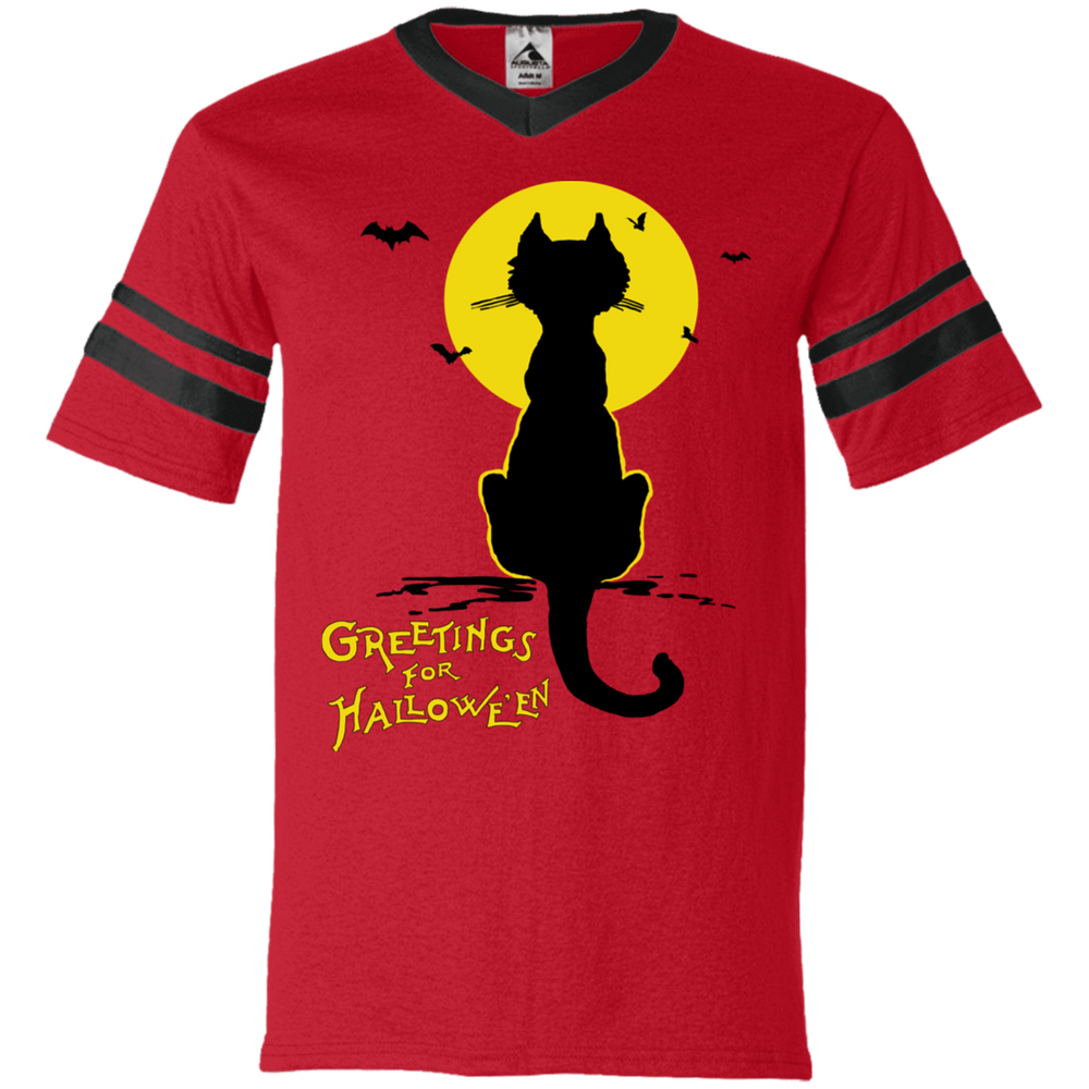Vintage Halloween Black Cat In The Moonlight Silhouette V-Neck Striped Sleeve Jersey - Unique Cat Gifts
