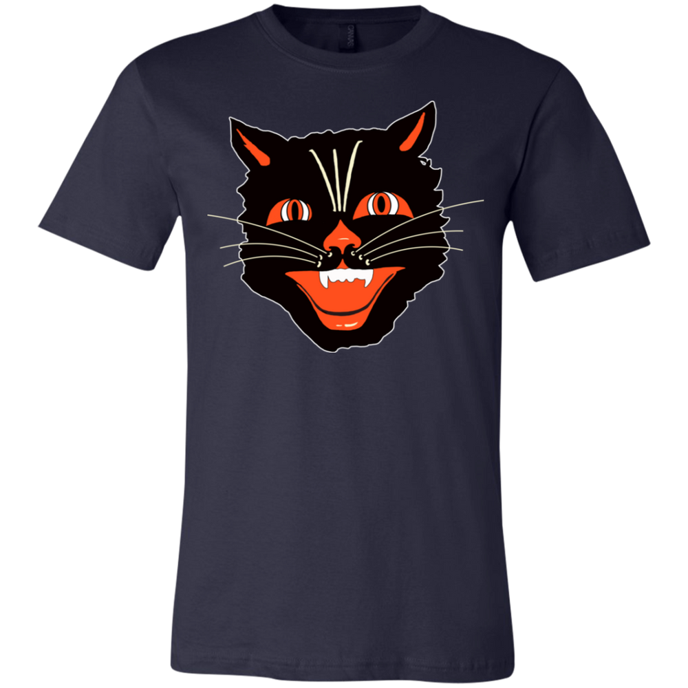 CHILDS Vintage Scary Halloween Black Cat Head Jersey T-Shirt - Unique Cat Gifts