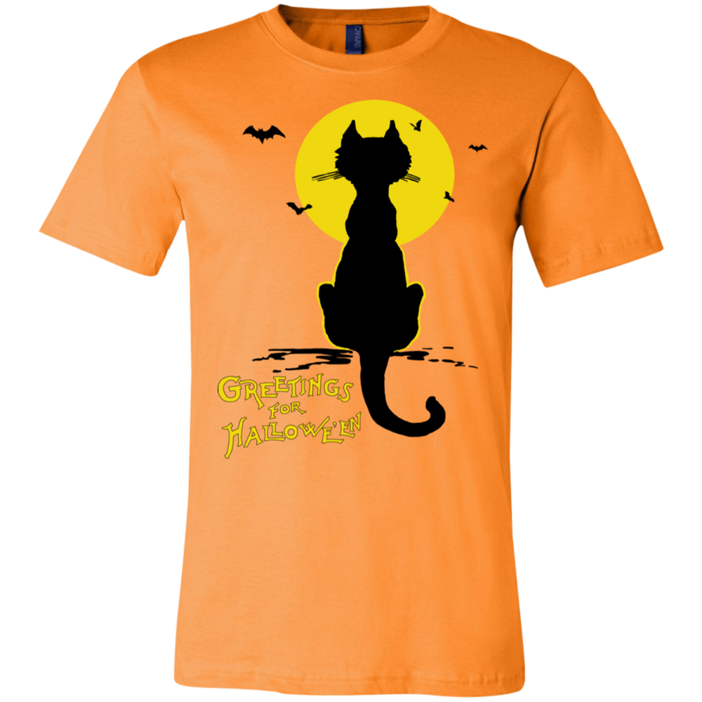 Vintage Halloween Black Cat In The Moonlight Silhouette Unisex Jersey T-Shirt - Unique Cat Gifts