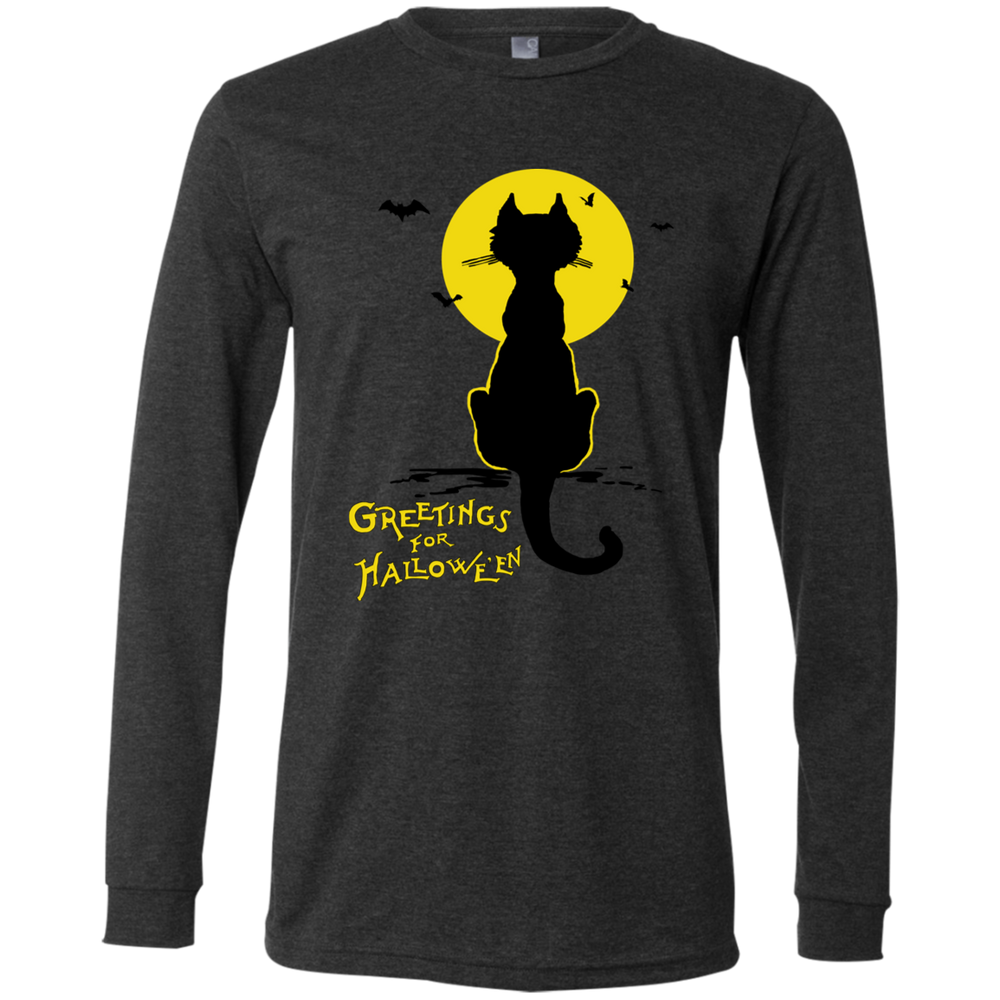 Vintage Halloween Black Cat In The Moonlight Silhouette Unisex Jersey LS Shirt - Unique Cat Gifts