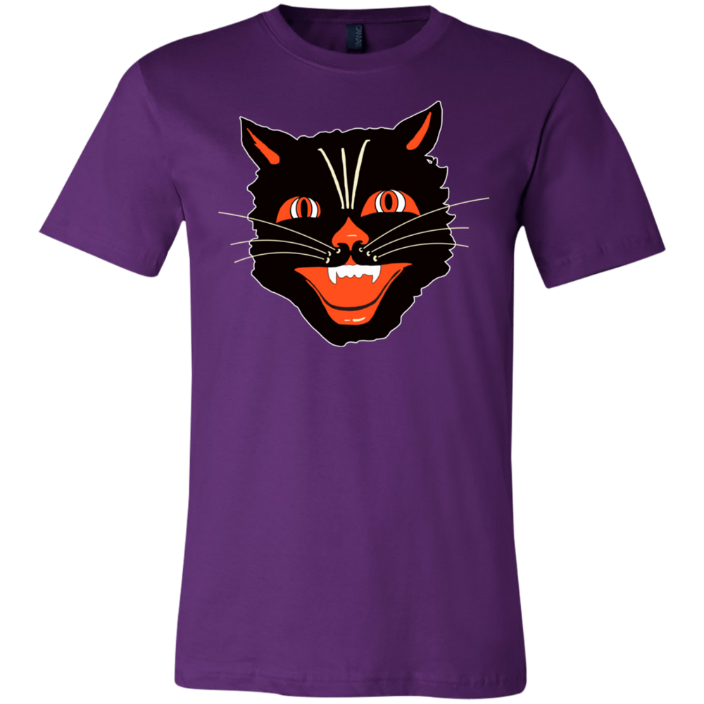 Vintage Scary Halloween Black Cat Head Unisex Jersey T-Shirt - Unique Cat Gifts