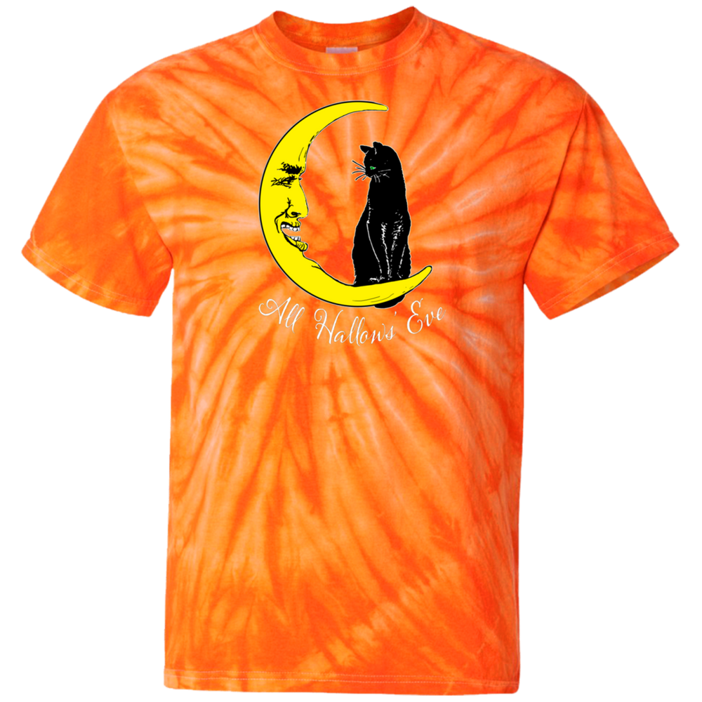 Vintage All Hallows' Eve Halloween Black Cat and Moon 100% Cotton Tie Dye T-Shirt - Unique Cat Gifts