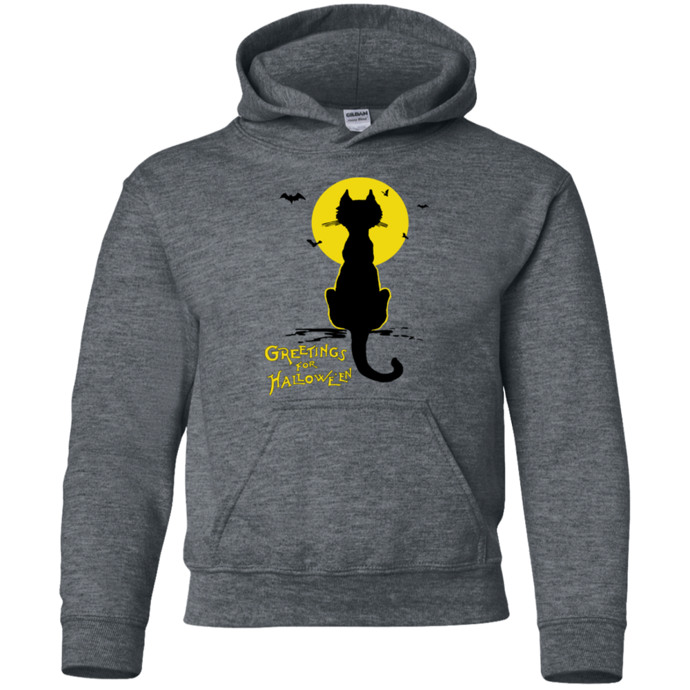 CHILDS Vintage Halloween Black Cat In The Moonlight Silhouette Pullover Hoodie - Unique Cat Gifts