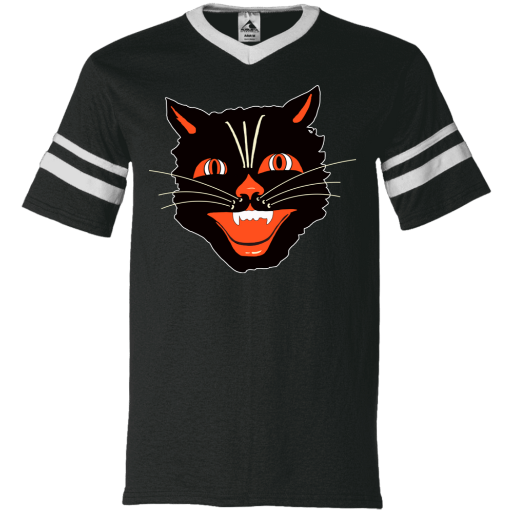 Vintage Scary Halloween Black Cat Head V-Neck Striped Sleeve Jersey - Unique Cat Gifts