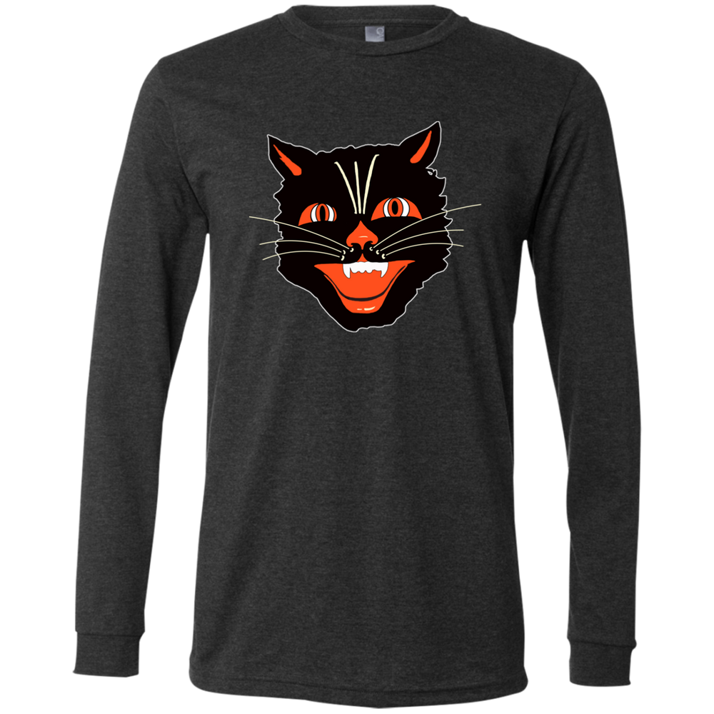 Vintage Scary Halloween Black Cat Head Men's Jersey LS T-Shirt - Unique Cat Gifts