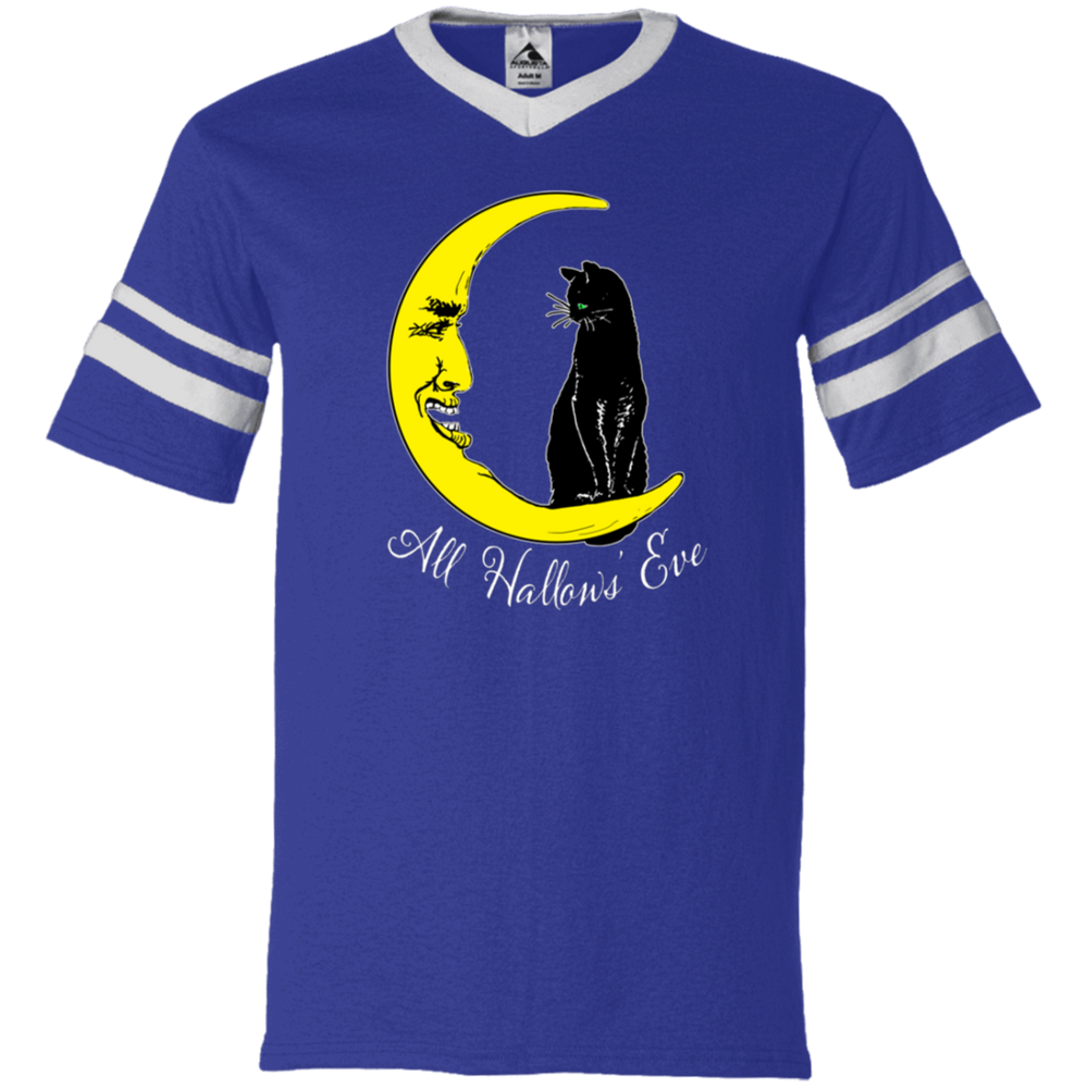 Vintage All Hallow's Eve Black Cat Sitting on The Moon V-Neck Striped Sleeve Jersey - Unique Cat Gifts