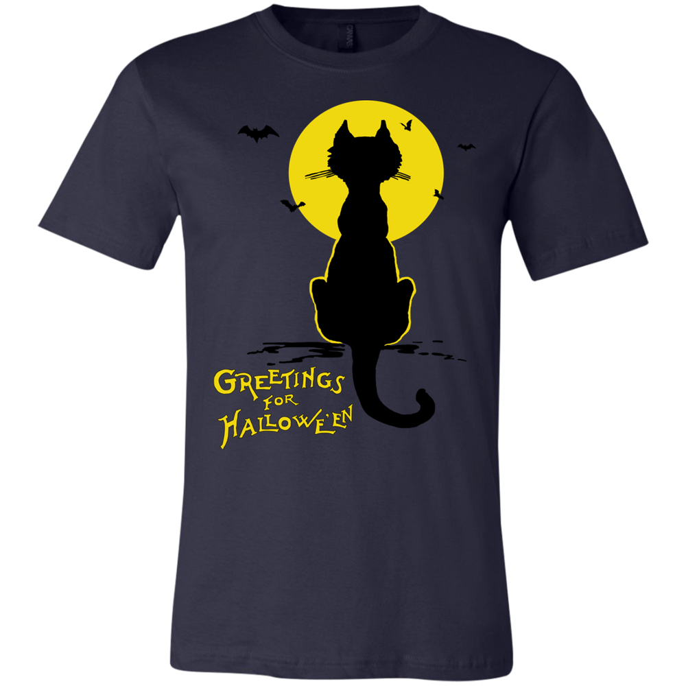 CHILDS Vintage Halloween Black Cat In The Moonlight Silhouette Jersey T-Shirt - Unique Cat Gifts