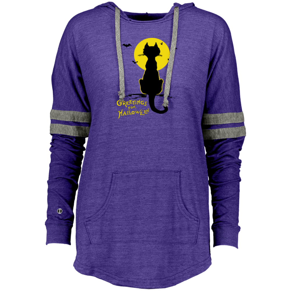 Vintage Halloween Black Cat In The Moonlight Silhouette Ladies Hooded Low Key Pullover - Unique Cat Gifts