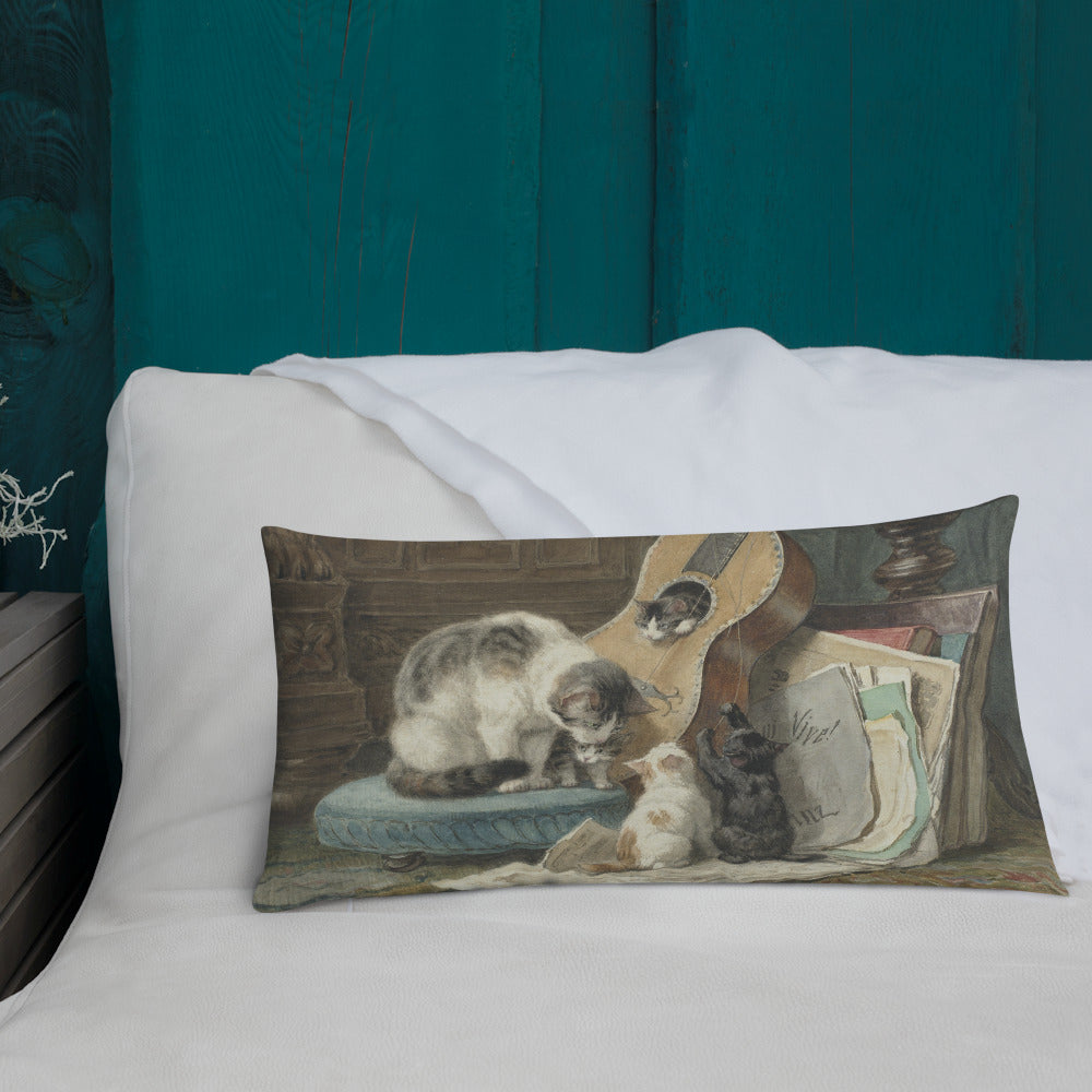 Music Lessons for Guitar Playing Cats Premium Art Pillow - Unique Cat Gifts