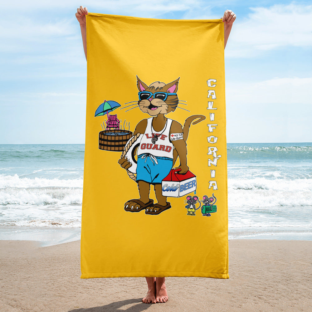 California Hip Cat Hot Tub Life Guard With Beer Cooler and Mice Friends Beach Towel - Unique Cat Gifts