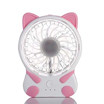 Purr Kitty Purr Cat Shaped Rechargeable Micro USB Charging Fan - Unique Cat Gifts