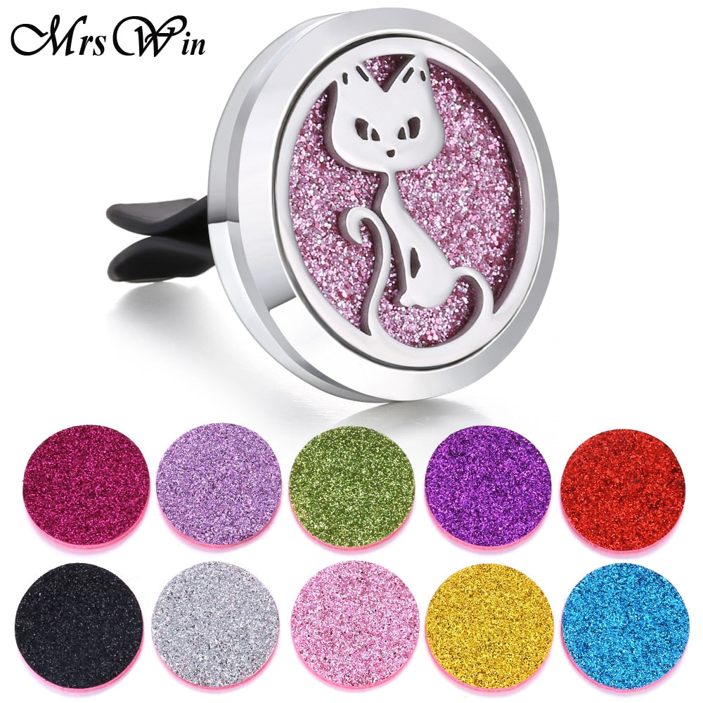 Stainless Steel Essential Oils or Perfume Aromatherapy Car Vent Air Freshener - Unique Cat Gifts