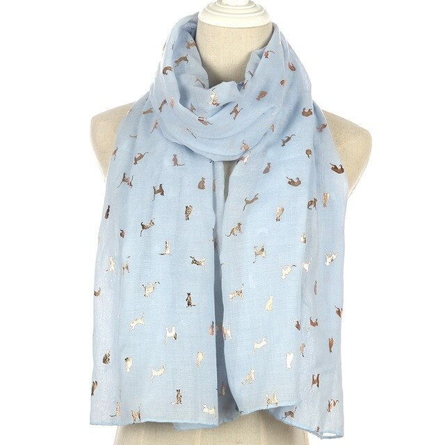 All Seasons Fashionable Gold Foil Cat Polyester Scarf - Unique Cat Gifts
