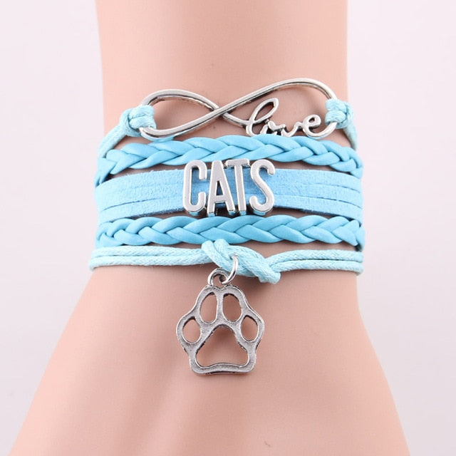 Infinity Love Symbol, Cats Lettering Leathers Wrap Stacked Bracelets with Cat Paw Charm - Unique Cat Gifts