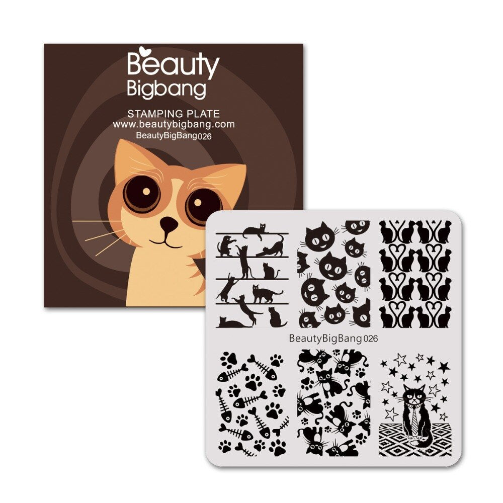 Salon Style Cat Pattern Manicure Stamping Plate For Nail Polish - Unique Cat Gifts