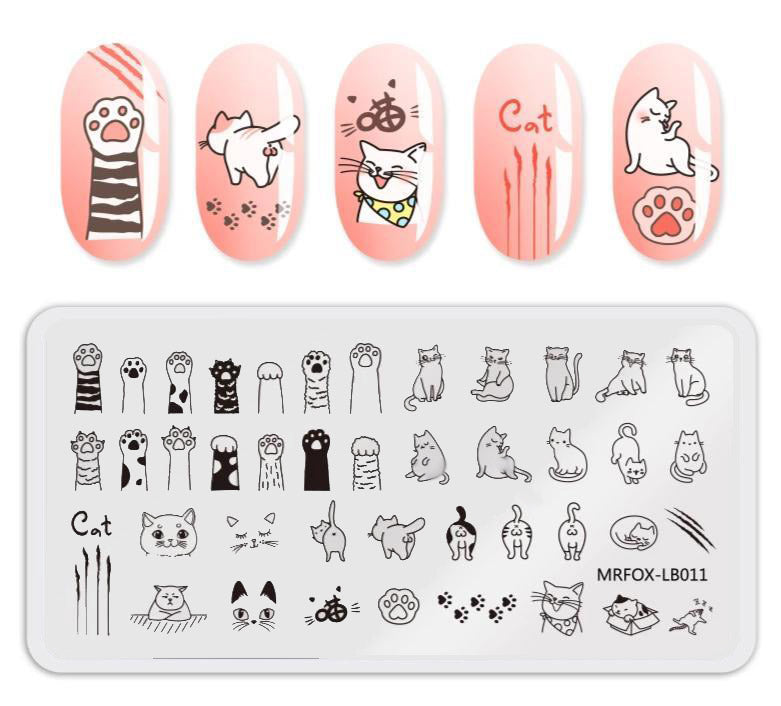 Salon Style Cute Kitty Nail Stamping Plate - Unique Cat Gifts