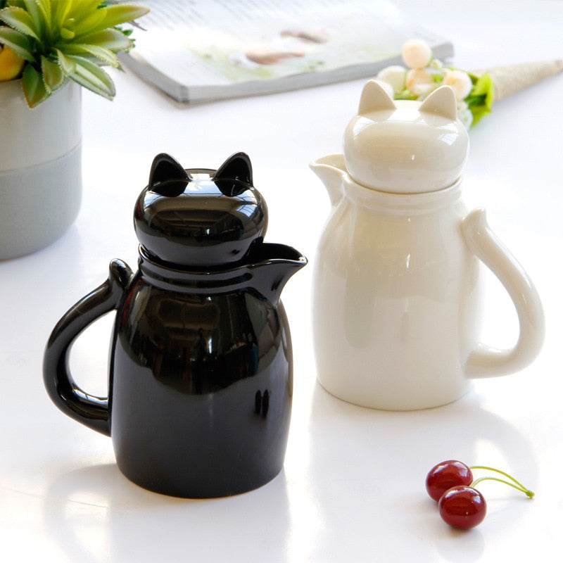 Artful Ceramic Cat Milk Pitcher with Lid - Lovely Cat Jug for Milk or Cream - Unique Cat Gifts