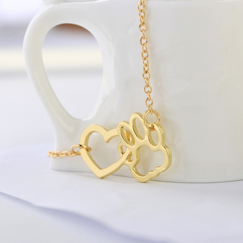 I Love My Fur Baby Cat Paw and Heart Intertwined Necklace - Unique Cat Gifts