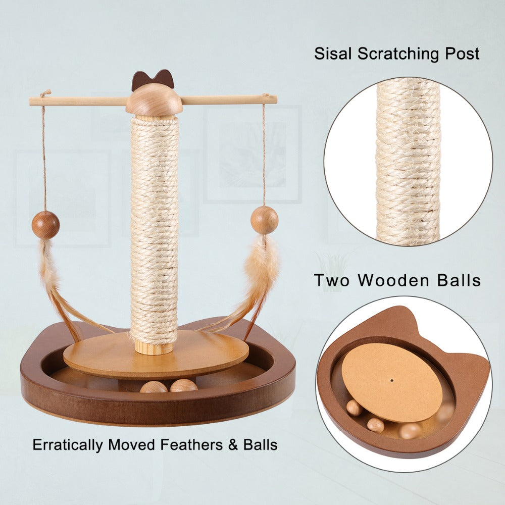 Multi-functional 360° Rotating Rod With Feather Wooden Balls Scratching Sisal Post for Cats - Unique Cat Gifts