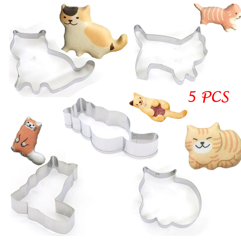 5 Piece Set Katty Cookies Cat Biscuit Cookie Cutters - Unique Cat Gifts