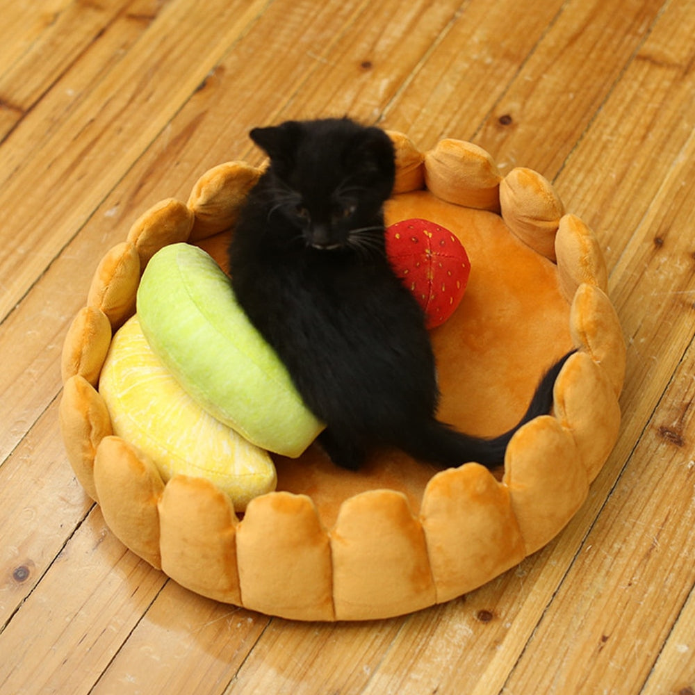 Le Chat Fruit Tart Cat Bed with Fruit Pillows Set - Unique Cat Gifts