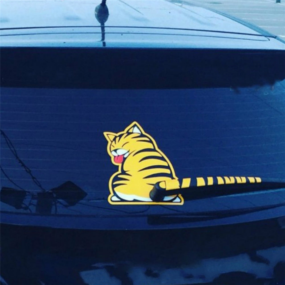Sassy Cat 3D Wagging Tail and Paw Print Car Stickers For Rear Wiper Blade - Unique Cat Gifts