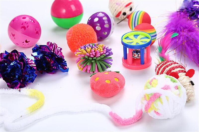 Kitty Galore Cat Toy Set with Collapsible Cat Tunnel and Lots of Cat Toys - 17 Piece Set - Unique Cat Gifts