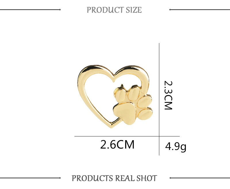 Gold or Silver Cat Paw in Heart Lapel Pin - Unique Cat Gifts