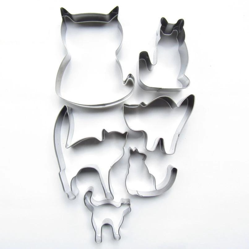 Set of 6 Katty Cookies Cat Biscuit Cookie Cutters - Unique Cat Gifts